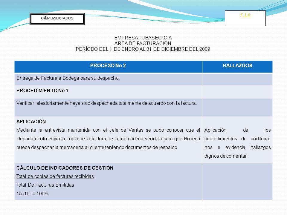 PROCESO No 2HALLAZGOS Entrega de Factura a Bodega para su despacho.