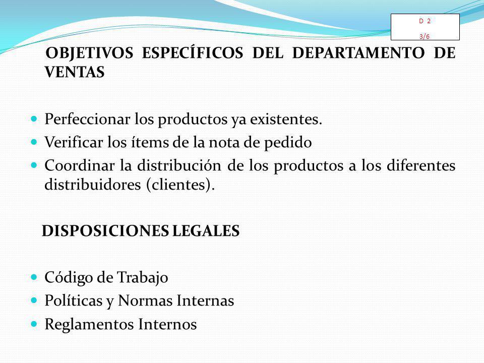 OBJETIVOS ESPECÍFICOS DEL DEPARTAMENTO DE VENTAS Perfeccionar los productos ya existentes. Verificar los ítems de la nota de pedido Coordinar la distr