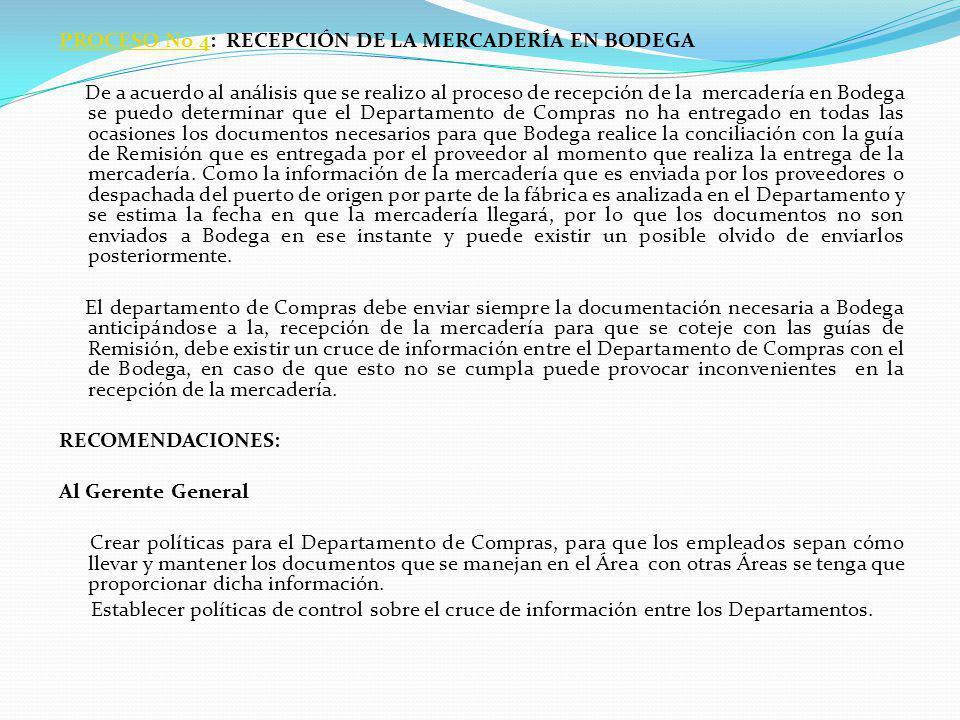 PROCESO No 4PROCESO No 4: RECEPCIÓN DE LA MERCADERÍA EN BODEGA De a acuerdo al análisis que se realizo al proceso de recepción de la mercadería en Bod