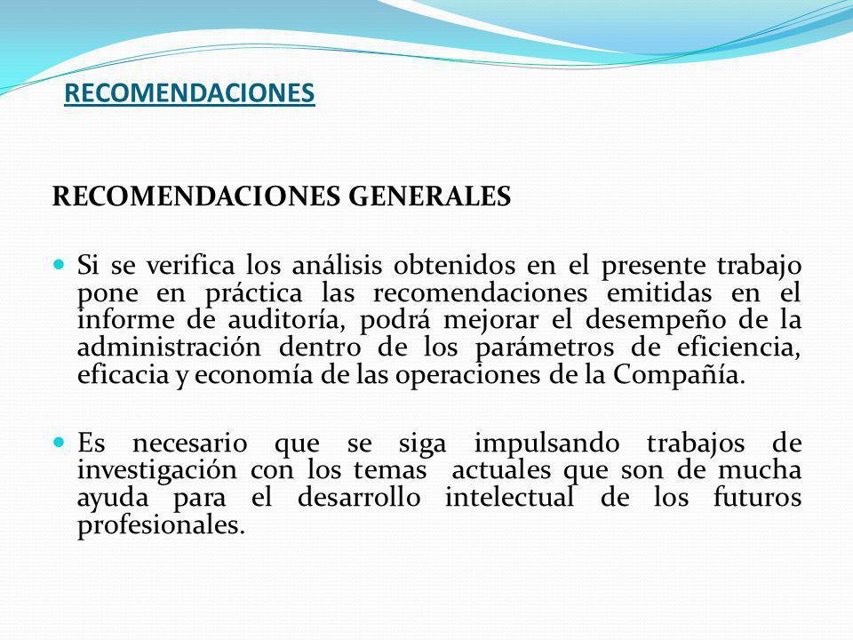 RECOMENDACIONES RECOMENDACIONES GENERALES Si se verifica los análisis obtenidos en el presente trabajo pone en práctica las recomendaciones emitidas en el informe de auditoría, podrá mejorar el desempeño de la administración dentro de los parámetros de eficiencia, eficacia y economía de las operaciones de la Compañía.