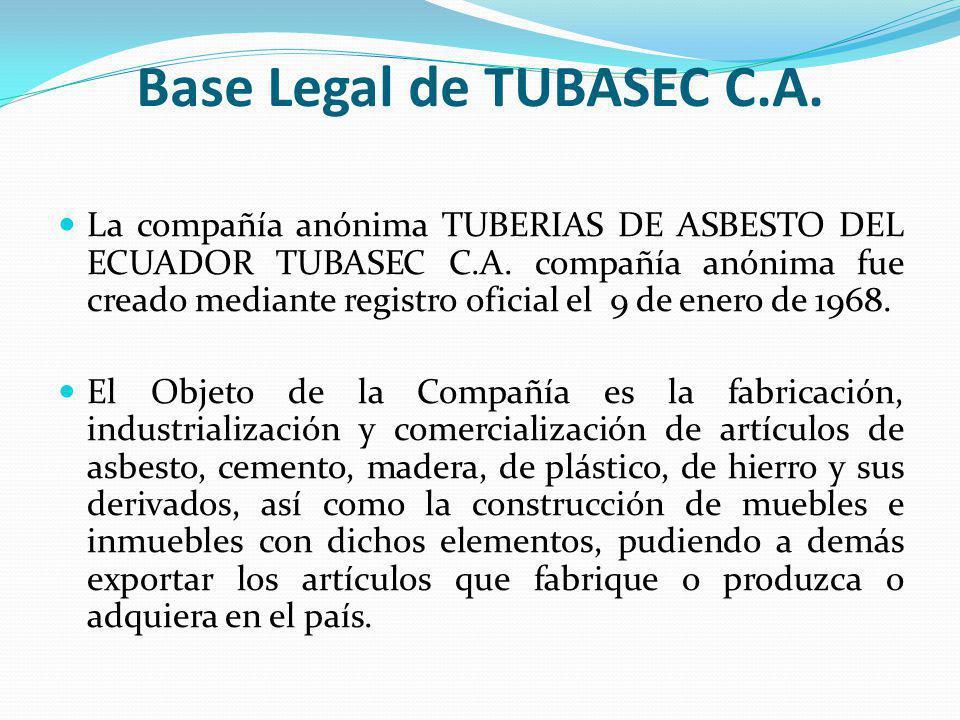 Base Legal de TUBASEC C.A. La compañía anónima TUBERIAS DE ASBESTO DEL ECUADOR TUBASEC C.A. compañía anónima fue creado mediante registro oficial el 9