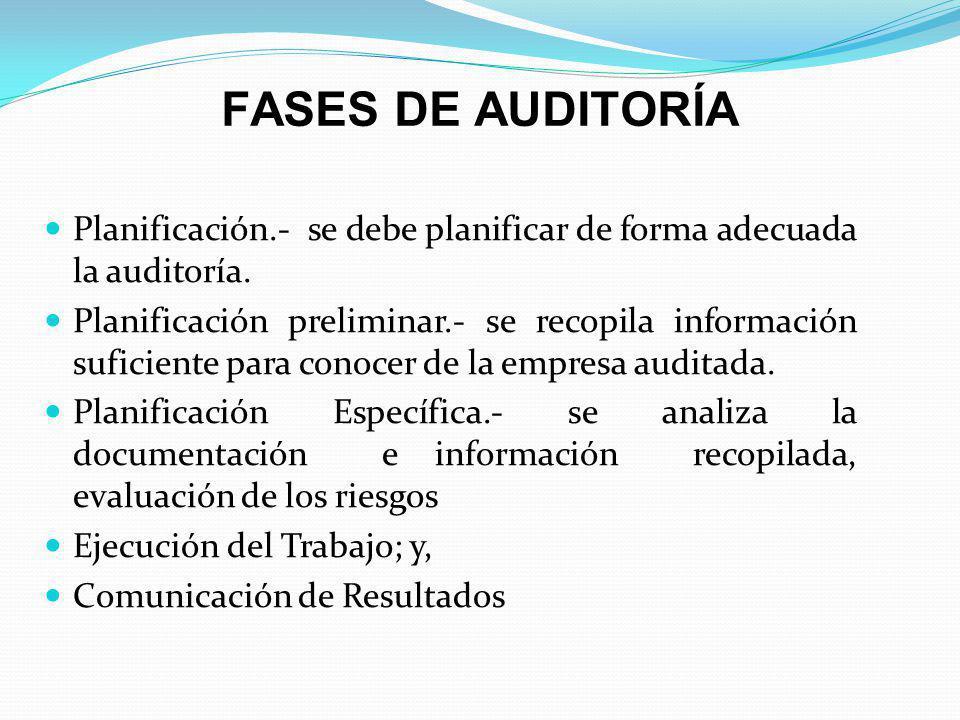 FASES DE AUDITORÍA Planificación.- se debe planificar de forma adecuada la auditoría. Planificación preliminar.- se recopila información suficiente pa