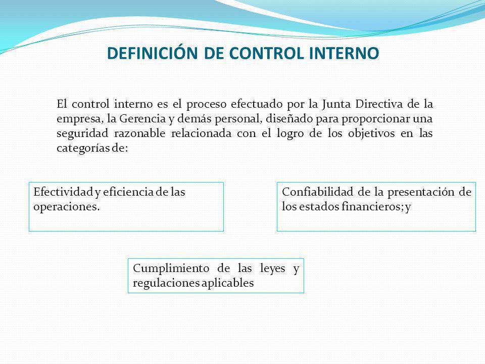 DEFINICIÓN DE CONTROL INTERNO El control interno es el proceso efectuado por la Junta Directiva de la empresa, la Gerencia y demás personal, diseñado para proporcionar una seguridad razonable relacionada con el logro de los objetivos en las categorías de: Efectividad y eficiencia de las operaciones.