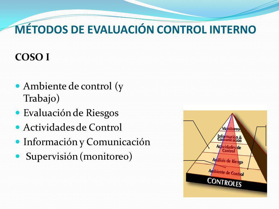 MÉTODOS DE EVALUACIÓN CONTROL INTERNO COSO I Ambiente de control (y Trabajo) Evaluación de Riesgos Actividades de Control Información y Comunicación S