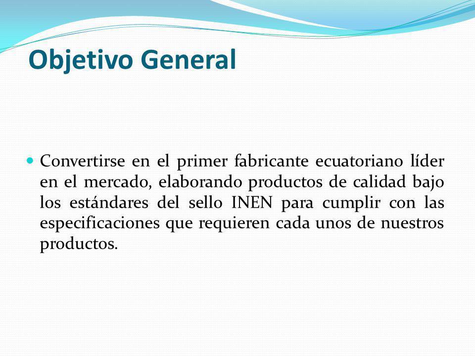 Objetivo General Convertirse en el primer fabricante ecuatoriano líder en el mercado, elaborando productos de calidad bajo los estándares del sello INEN para cumplir con las especificaciones que requieren cada unos de nuestros productos.