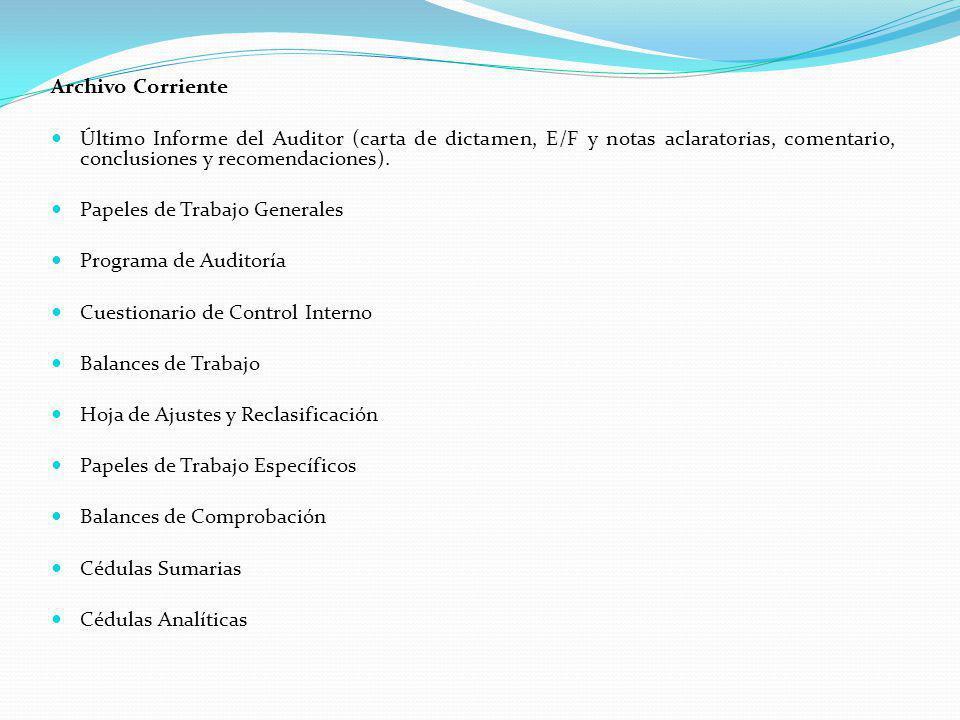 Archivo Corriente Último Informe del Auditor (carta de dictamen, E/F y notas aclaratorias, comentario, conclusiones y recomendaciones). Papeles de Tra