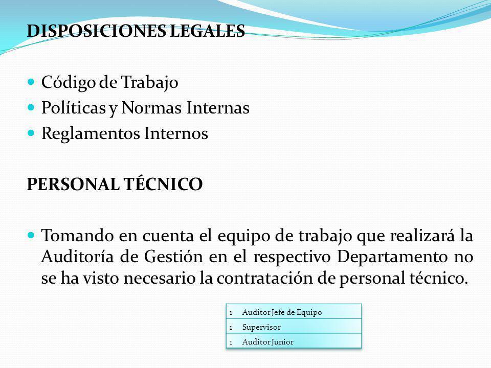 DISPOSICIONES LEGALES Código de Trabajo Políticas y Normas Internas Reglamentos Internos PERSONAL TÉCNICO Tomando en cuenta el equipo de trabajo que r