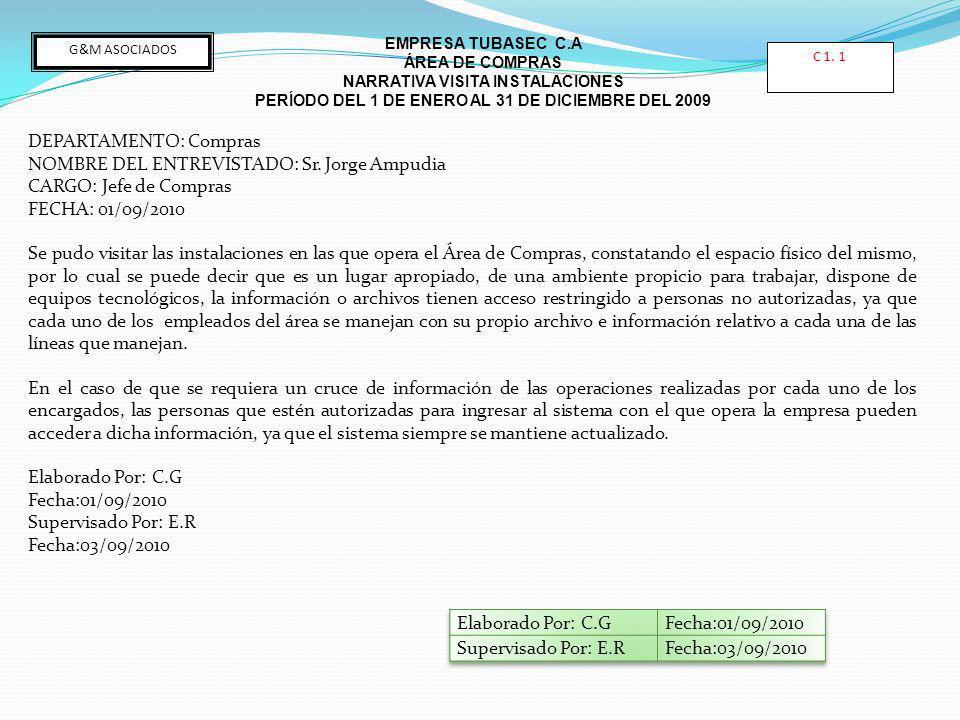 DEPARTAMENTO: Compras NOMBRE DEL ENTREVISTADO: Sr. Jorge Ampudia CARGO: Jefe de Compras FECHA: 01/09/2010 Se pudo visitar las instalaciones en las que