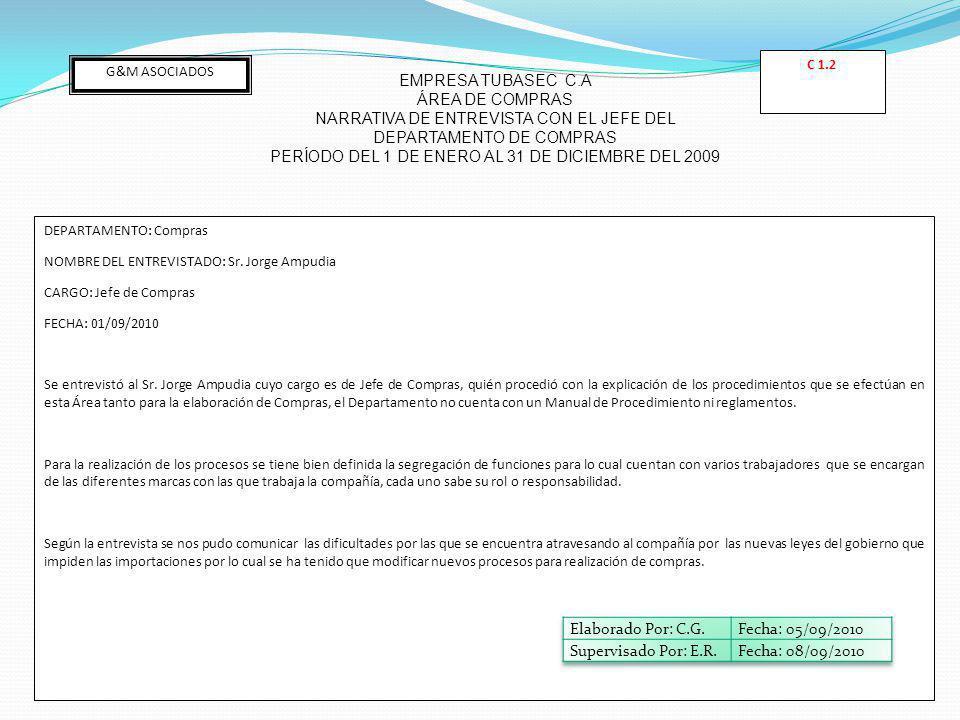 G&M ASOCIADOS EMPRESA TUBASEC C.A ÁREA DE COMPRAS NARRATIVA DE ENTREVISTA CON EL JEFE DEL DEPARTAMENTO DE COMPRAS PERÍODO DEL 1 DE ENERO AL 31 DE DICIEMBRE DEL 2009 DEPARTAMENTO: Compras NOMBRE DEL ENTREVISTADO: Sr.