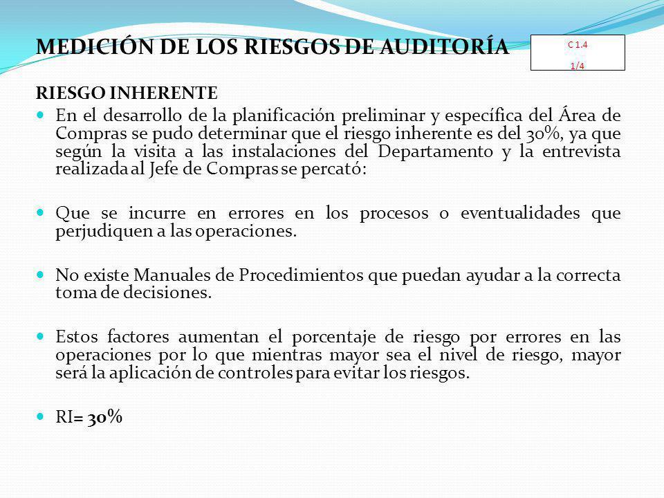 MEDICIÓN DE LOS RIESGOS DE AUDITORÍA RIESGO INHERENTE En el desarrollo de la planificación preliminar y específica del Área de Compras se pudo determi