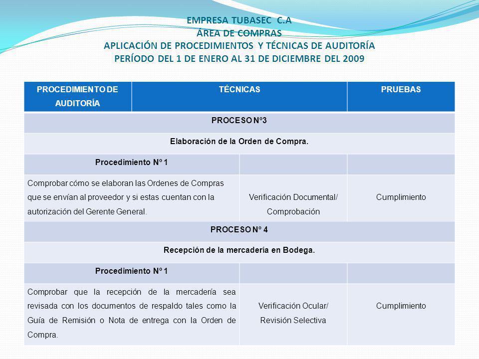 PROCEDIMIENTO DE AUDITORÍA TÉCNICASPRUEBAS PROCESO Nº3 Elaboración de la Orden de Compra.