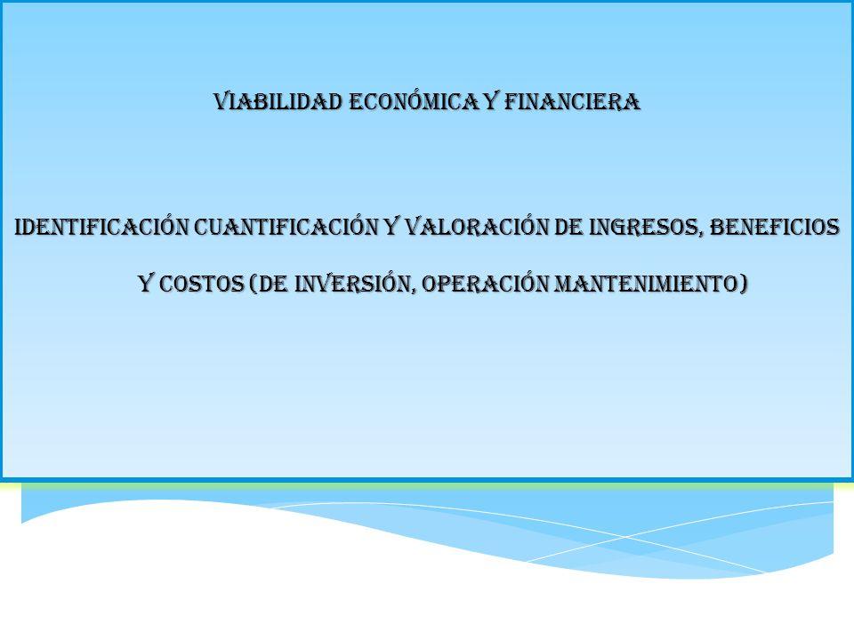 Viabilidad económica y financiera Identificación cuantificación y valoración de ingresos, beneficios y costos (de inversión, operación mantenimiento)