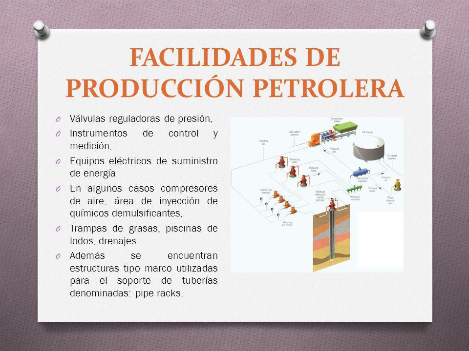 FACILIDADES DE PRODUCCIÓN PETROLERA O Válvulas reguladoras de presión, O Instrumentos de control y medición, O Equipos eléctricos de suministro de ene