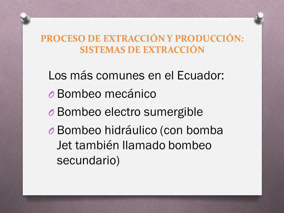 PROCESO DE EXTRACCIÓN Y PRODUCCIÓN: SISTEMAS DE EXTRACCIÓN Los más comunes en el Ecuador: O Bombeo mecánico O Bombeo electro sumergible O Bombeo hidrá