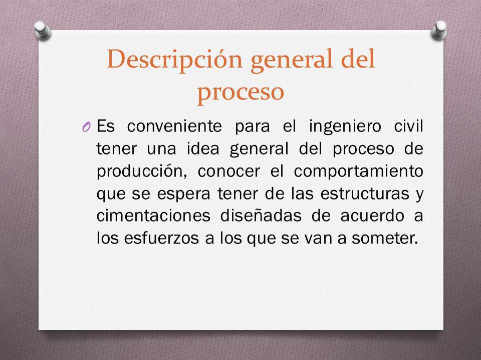 Descripción general del proceso O Es conveniente para el ingeniero civil tener una idea general del proceso de producción, conocer el comportamiento q