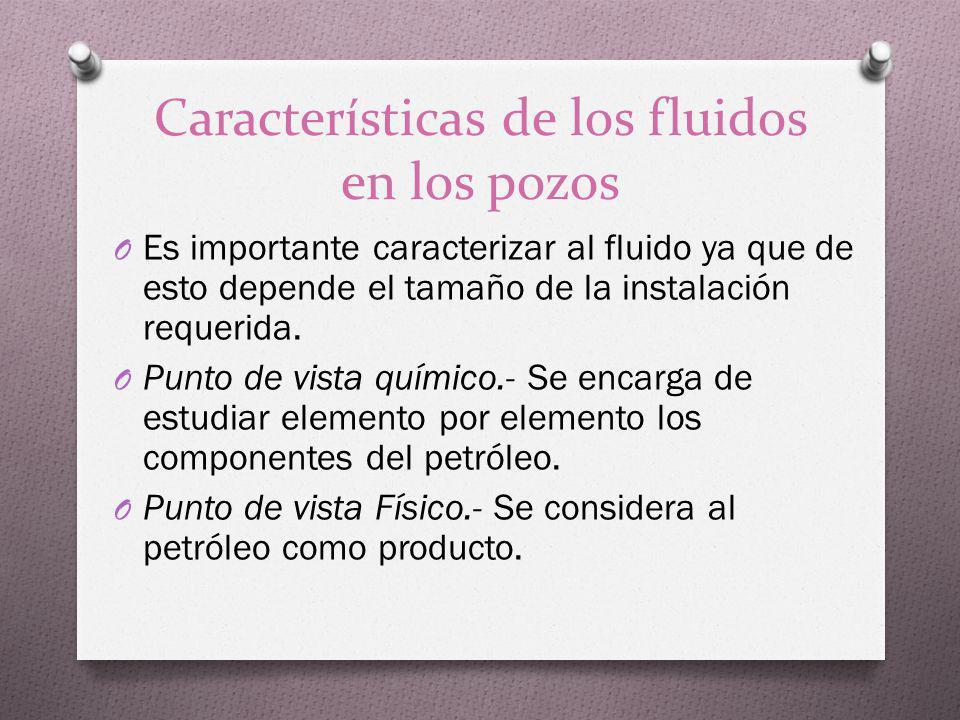 Características de los fluidos en los pozos O Es importante caracterizar al fluido ya que de esto depende el tamaño de la instalación requerida. O Pun