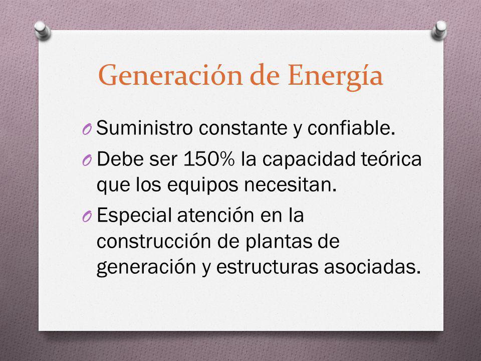 Generación de Energía O Suministro constante y confiable. O Debe ser 150% la capacidad teórica que los equipos necesitan. O Especial atención en la co