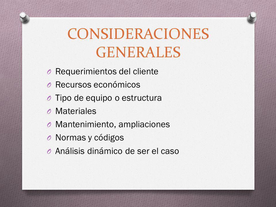 CONSIDERACIONES GENERALES O Requerimientos del cliente O Recursos económicos O Tipo de equipo o estructura O Materiales O Mantenimiento, ampliaciones