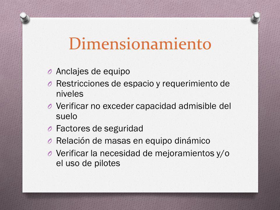 Dimensionamiento O Anclajes de equipo O Restricciones de espacio y requerimiento de niveles O Verificar no exceder capacidad admisible del suelo O Fac
