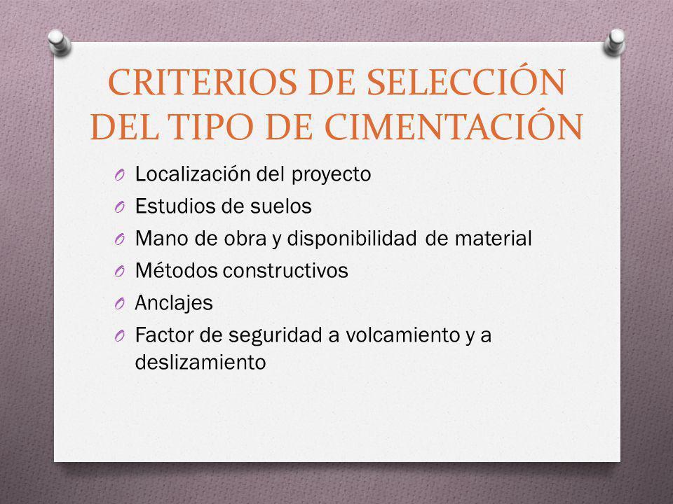 CRITERIOS DE SELECCIÓN DEL TIPO DE CIMENTACIÓN O Localización del proyecto O Estudios de suelos O Mano de obra y disponibilidad de material O Métodos