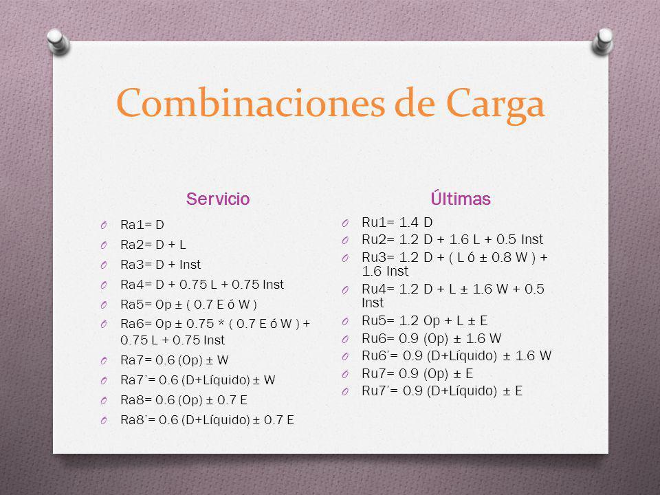 Combinaciones de Carga Servicio Últimas O Ra1= D O Ra2= D + L O Ra3= D + Inst O Ra4= D + 0.75 L + 0.75 Inst O Ra5= Op ± ( 0.7 E ó W ) O Ra6= Op ± 0.75