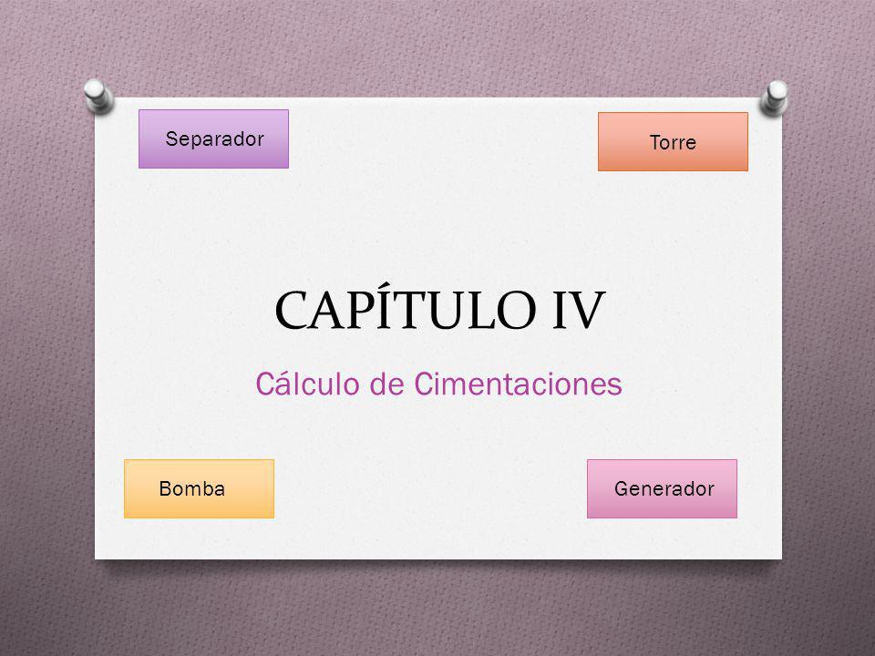 CAPÍTULO IV Cálculo de Cimentaciones Separador Torre BombaGenerador