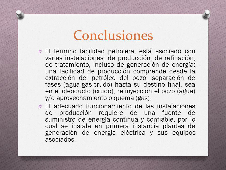 Conclusiones O El término facilidad petrolera, está asociado con varias instalaciones: de producción, de refinación, de tratamiento, incluso de genera