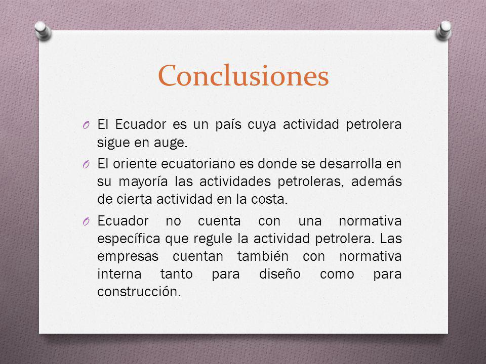 Conclusiones O El Ecuador es un país cuya actividad petrolera sigue en auge. O El oriente ecuatoriano es donde se desarrolla en su mayoría las activid