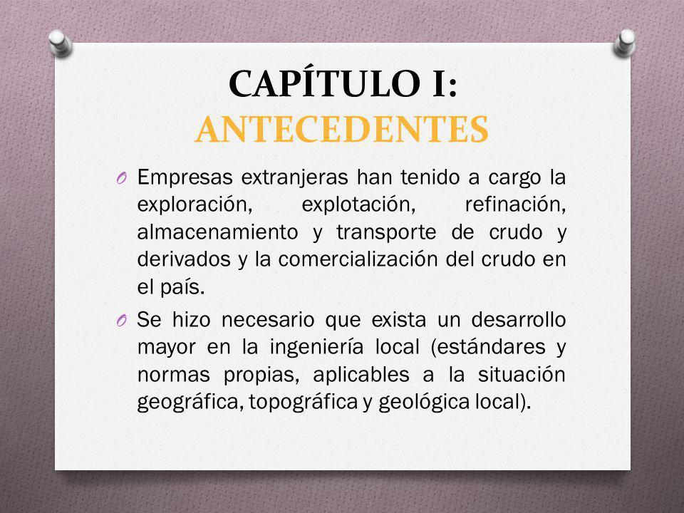 CAPÍTULO I: ANTECEDENTES O Empresas extranjeras han tenido a cargo la exploración, explotación, refinación, almacenamiento y transporte de crudo y der