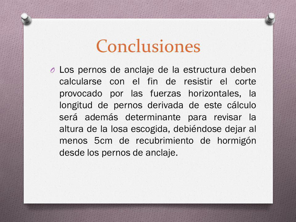 Conclusiones O Los pernos de anclaje de la estructura deben calcularse con el fin de resistir el corte provocado por las fuerzas horizontales, la long
