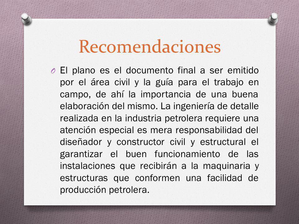 Recomendaciones O El plano es el documento final a ser emitido por el área civil y la guía para el trabajo en campo, de ahí la importancia de una buen