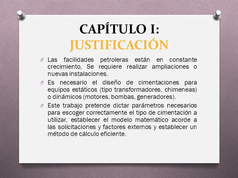 CAPÍTULO I: JUSTIFICACIÓN O Las facilidades petroleras están en constante crecimiento, Se requiere realizar ampliaciones o nuevas instalaciones. O Es