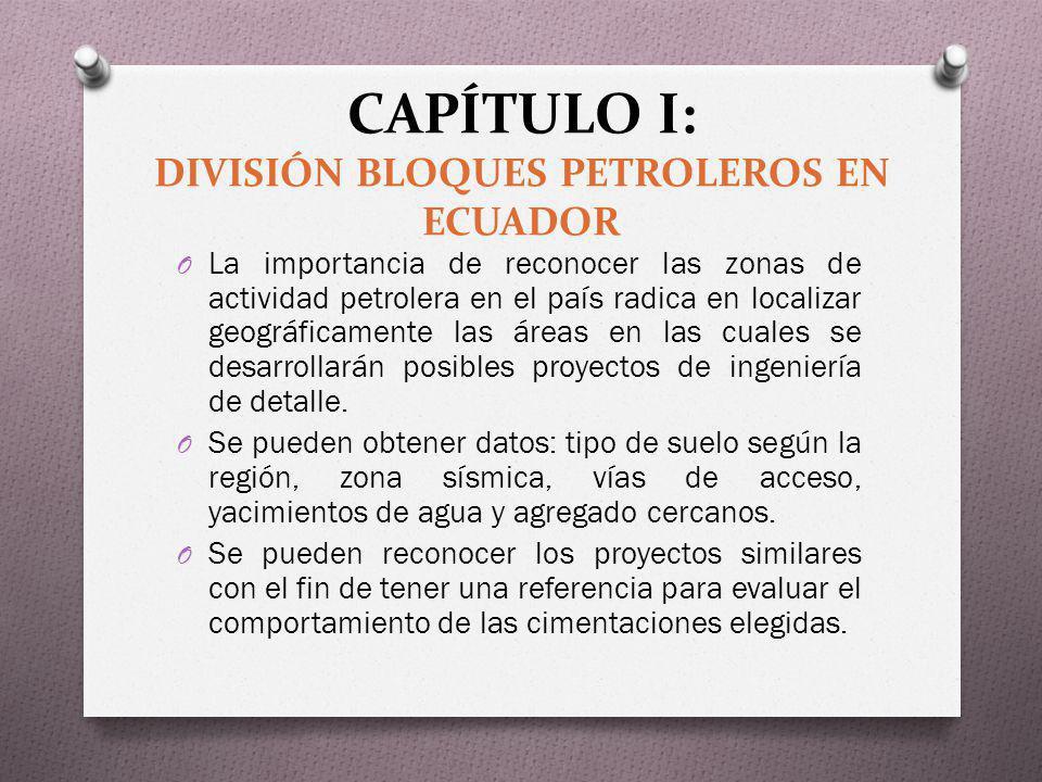 CAPÍTULO I: DIVISIÓN BLOQUES PETROLEROS EN ECUADOR O La importancia de reconocer las zonas de actividad petrolera en el país radica en localizar geogr