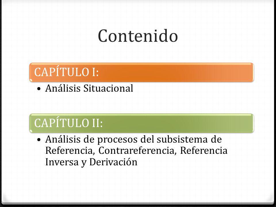 Contenido CAPÍTULO I: Análisis Situacional CAPÍTULO II: Análisis de procesos del subsistema de Referencia, Contrareferencia, Referencia Inversa y Deri
