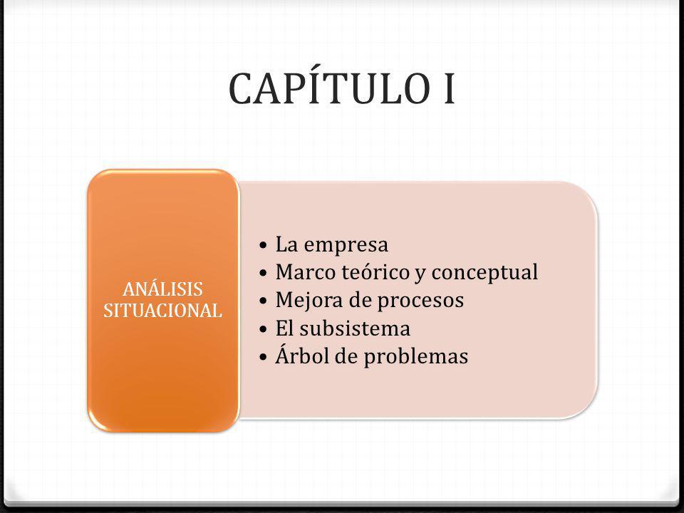 CAPÍTULO I La empresa Marco teórico y conceptual Mejora de procesos El subsistema Árbol de problemas ANÁLISIS SITUACIONAL