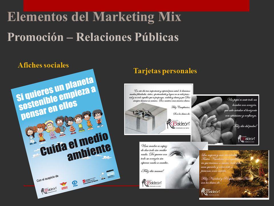 Elementos del Marketing Mix Promoción – Mk Directo Desarrollo Página WEB Desarrollo Catálogo Digital