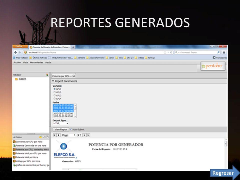 REPORTES GENERADOS Regresar