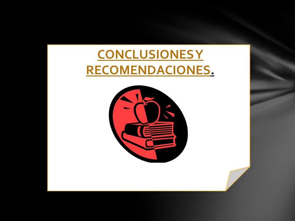 CONCLUSIONES Y RECOMENDACIONESCONCLUSIONES Y RECOMENDACIONES.