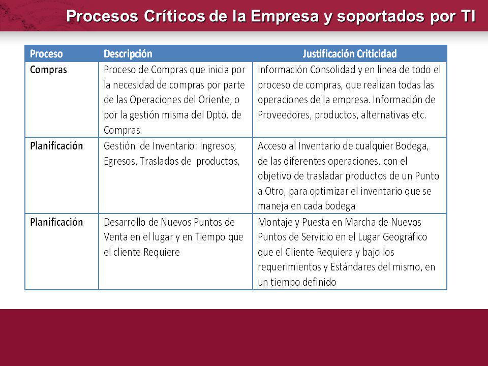 Procesos Críticos de la Empresa y soportados por TI