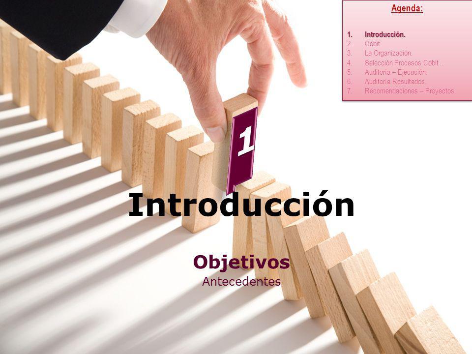 Introducción Objetivos Antecedentes Agenda: 1.Introducción. 2.Cobit. 3.La Organización. 4.Selección Procesos Cobit.. 5.Auditoría – Ejecución. 6.Audito