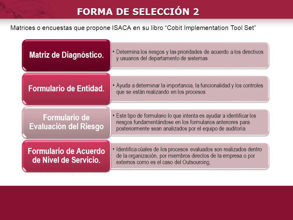 FORMA DE SELECCIÓN 2 Determina los riesgos y las prioridades de acuerdo a los directivos y usuarios del departamento de sistemas Matriz de Diagnóstico