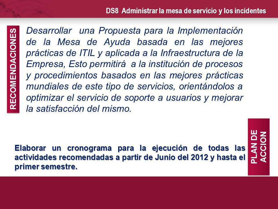 DS8 Administrar la mesa de servicio y los incidentes Elaborar un cronograma para la ejecución de todas las actividades recomendadas a partir de Junio