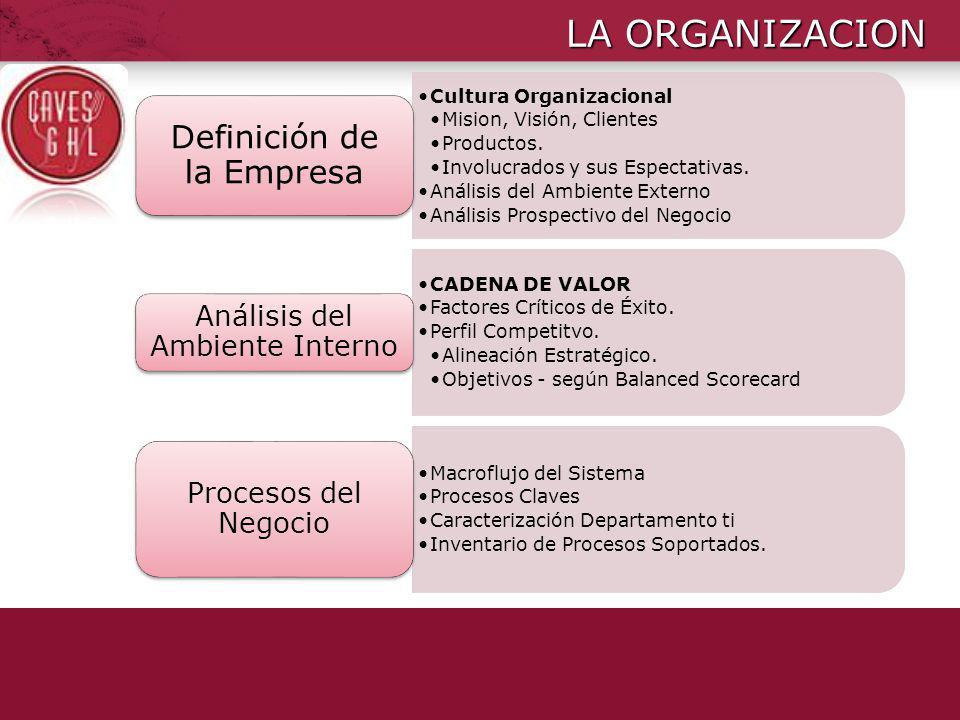 LA ORGANIZACION Cultura Organizacional Mision, Visión, Clientes Productos. Involucrados y sus Espectativas. Análisis del Ambiente Externo Análisis Pro