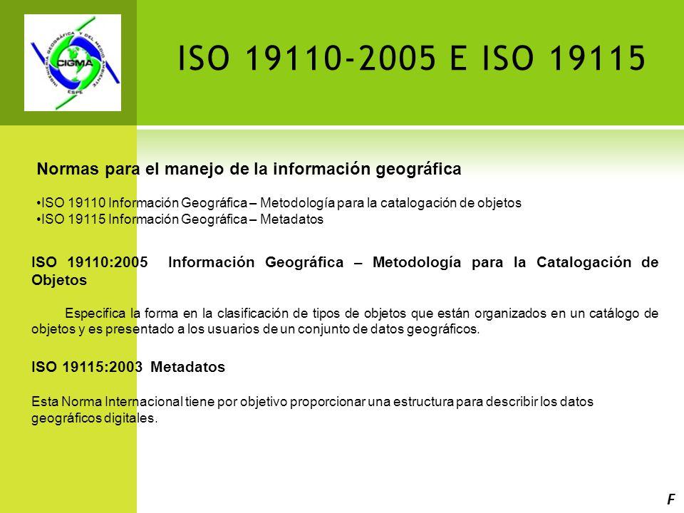 ISO 19110-2005 E ISO 19115 Normas para el manejo de la información geográfica ISO 19110 Información Geográfica – Metodología para la catalogación de objetos ISO 19115 Información Geográfica – Metadatos ISO 19110:2005 Información Geográfica – Metodología para la Catalogación de Objetos Especifica la forma en la clasificación de tipos de objetos que están organizados en un catálogo de objetos y es presentado a los usuarios de un conjunto de datos geográficos.