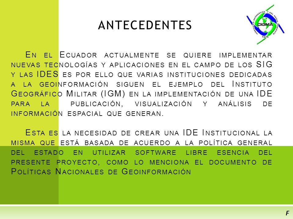 OBJETIVOS ESPECÍFICOS E STRUCTURAR LA INFORMACIÓN ESPACIAL CORRESPONDIENTE A LOS P LANES E CORREGIONALES P ACIFICO E CUATORIAL Y C ORDILLERA R EAL O RIENTAL.