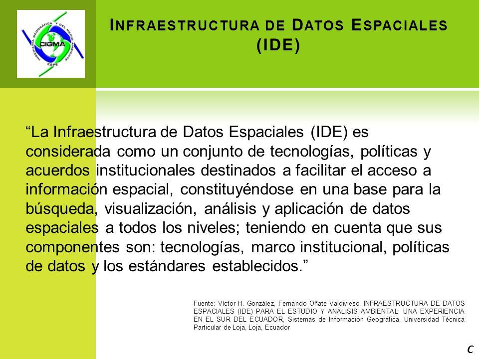 I NFRAESTRUCTURA DE D ATOS E SPACIALES (IDE) La Infraestructura de Datos Espaciales (IDE) es considerada como un conjunto de tecnologías, políticas y acuerdos institucionales destinados a facilitar el acceso a información espacial, constituyéndose en una base para la búsqueda, visualización, análisis y aplicación de datos espaciales a todos los niveles; teniendo en cuenta que sus componentes son: tecnologías, marco institucional, políticas de datos y los estándares establecidos.