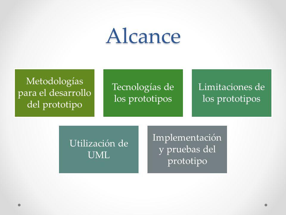 Alcance Metodologías para el desarrollo del prototipo Tecnologías de los prototipos Limitaciones de los prototipos Utilización de UML Implementación y