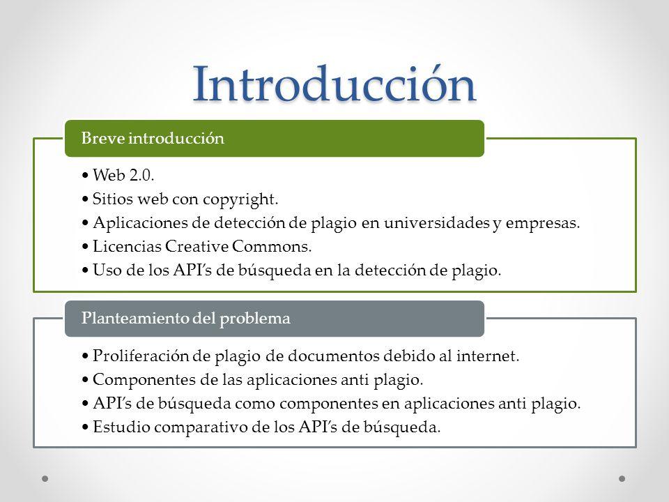 Introducción Web 2.0. Sitios web con copyright. Aplicaciones de detección de plagio en universidades y empresas. Licencias Creative Commons. Uso de lo