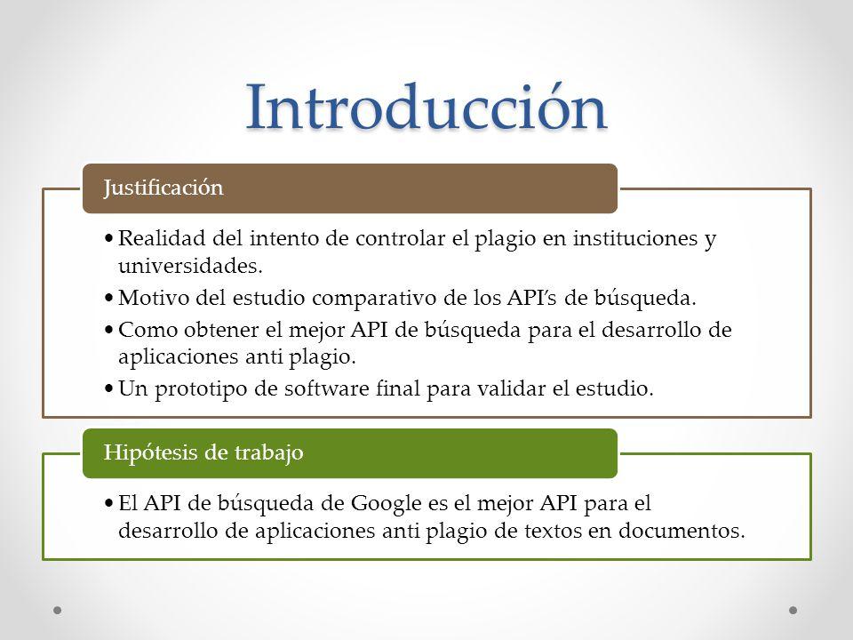 Criterios de comparación teórica basados en la documentación de los APIs y experiencia de terceros CriterioPonderación Tipos de fuentes de búsqueda simultáneos 20 Número aproximado de aplicaciones utilizando el API 10 Número de aplicaciones anti plagio utilizando el API o directamente el motor de búsqueda 20 Total470