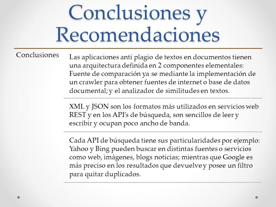 Conclusiones y Recomendaciones Conclusiones Las aplicaciones anti plagio de textos en documentos tienen una arquitectura definida en 2 componentes ele